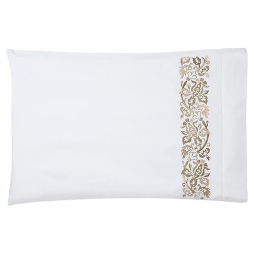 Sferra Modern Saxon Champagne Standard Pillowcases - Set Of 2 | Kathy Kuo Home