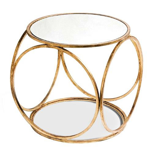 Orbital Gold Leaf and Mirror Contemporary Side Table | Kathy Kuo Home