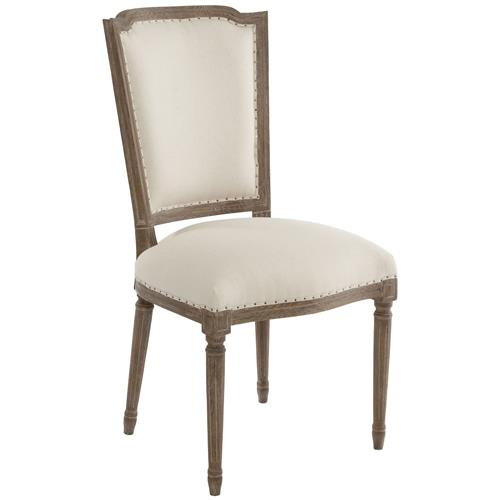 Pair Ethan French Country Rustic Linen Dining Chair | Kathy Kuo Home