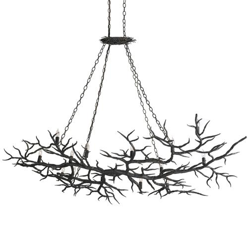 Boca Dramatic Branch Wrought Iron 14 Light Island Chandelier | Kathy Kuo Home