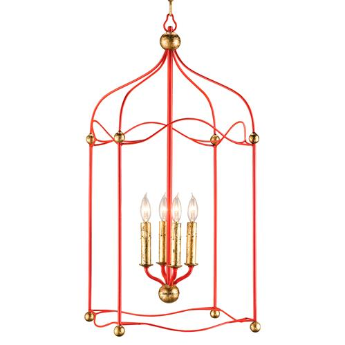 Carousel Red and Gold Birdcage 4 Light Pendant Lantern | Kathy Kuo Home
