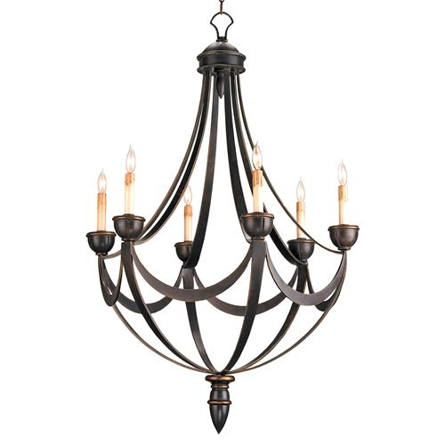 Black Wrought Iron Regency 6 Light Bronze Gold Chandelier | Kathy Kuo Home