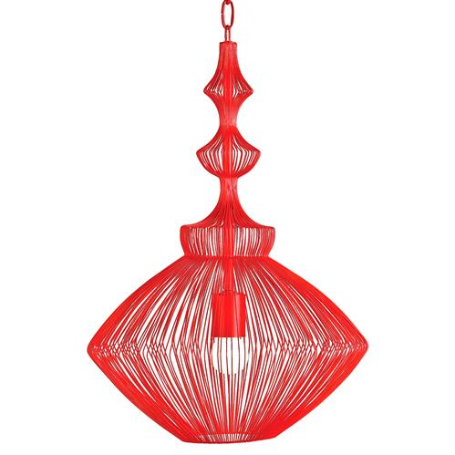 Parker Red Mid Century Modern Strung Steel Wire Pendant Light | Kathy Kuo Home