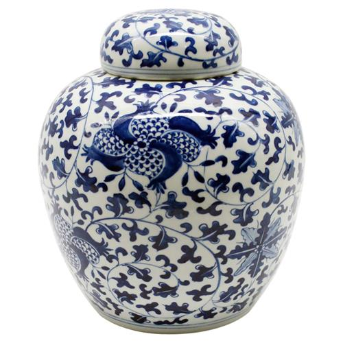Clea Modern Classic Blue and White Porcelain Pomegranate Lidded Jar | Kathy Kuo Home