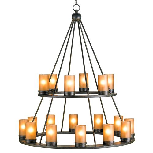 Black Wrought Iron Rustic Lodge Tiered 18 Light Candle Chandelier | Kathy Kuo Home