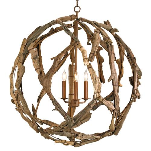 Driftwood Iron Modern Rustic 3 Light Orb Pendant | Kathy Kuo Home