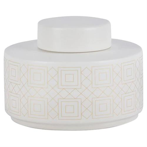 Ashlynn Modern Classic Geometric Detail White Porcelain Vase - Small 5in | Kathy Kuo Home