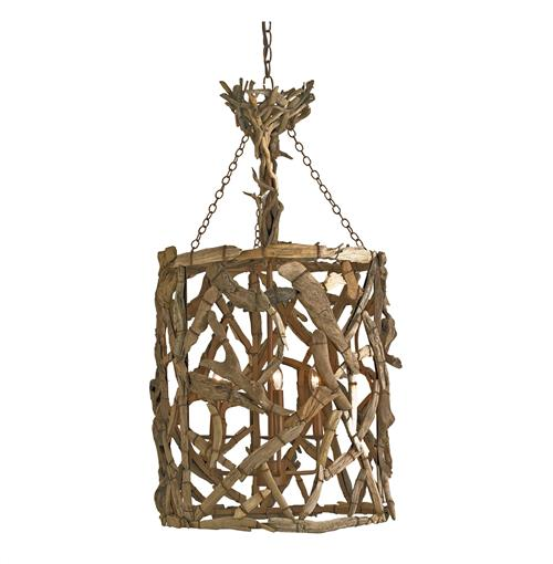 Driftwood Iron Modern Rustic  4 Light Round Pendant | Kathy Kuo Home