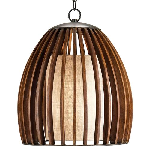 Carina Wood and Burlap Slat Mid Century Style Bell Pendant Lamp | Kathy Kuo Home