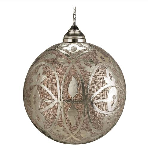 Sahara Turkish Ottoman Pierced Metal Orb Pendant Lamp | Kathy Kuo Home