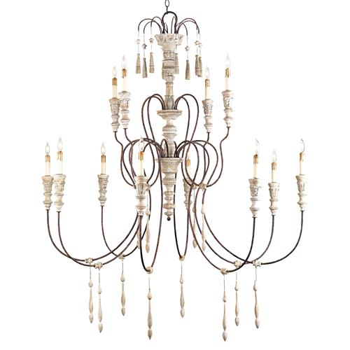 Katrine Gustavian Iron and Wood Formal Chandelier - 53 Inch | Kathy Kuo Home