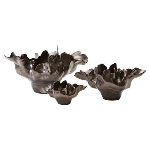 Delaine Modern Classic 6.5in Bronze Ceramic Bowl | Kathy Kuo Home