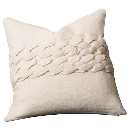 Gael Modern Classic Ivory Down Fill Braided Decorative Square Pillow - 20x20 | Kathy Kuo Home