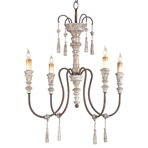 Katrine Gustavian Iron and Wood Chandelier - 22 Inch | Kathy Kuo Home