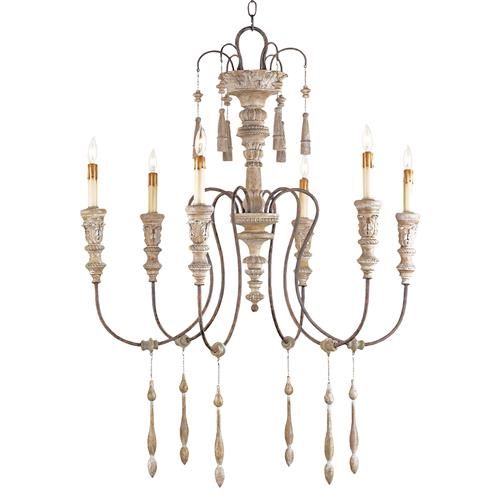 Katrine Gustavian Iron and Wood Chandelier - 33 Inch | Kathy Kuo Home
