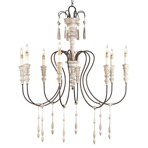 Katrine Gustavian Iron and Wood Chandelier - 40 Inch | Kathy Kuo Home