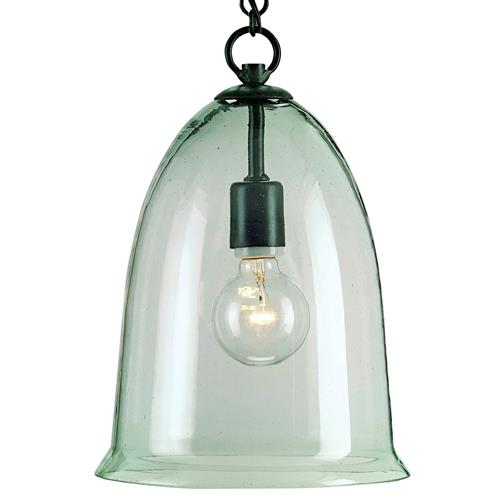 Hector Recycled Glass Industrial Rustic Bell Pendant Lamp | Kathy Kuo Home