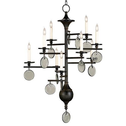Semana Modern Iron Recycled Glass Disc 9 Light Chandelier | Kathy Kuo Home