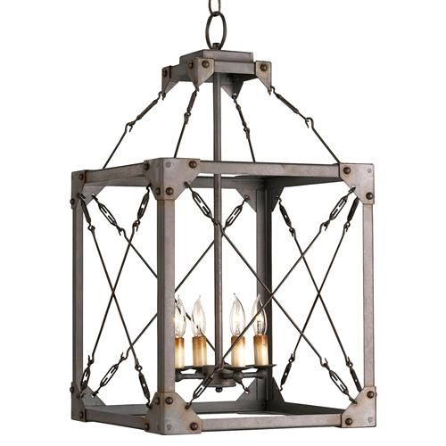 Salvage Metal Box Industrial Loft Lantern 4 Light Pendant Fixture | Kathy Kuo Home