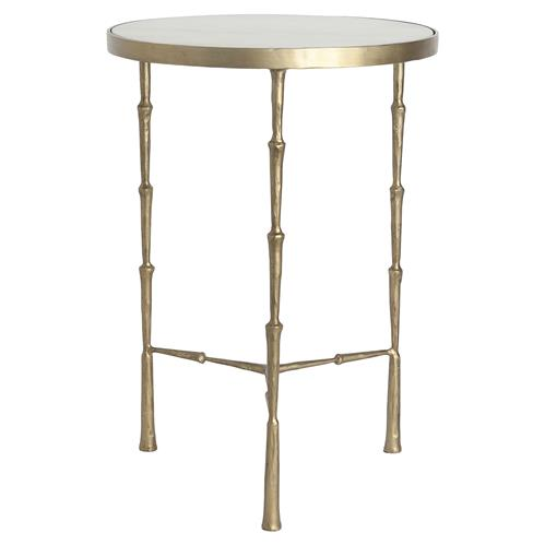 Felix Modern Classic Round White Marble Top Gold Metal Legs Side Table | Kathy Kuo Home