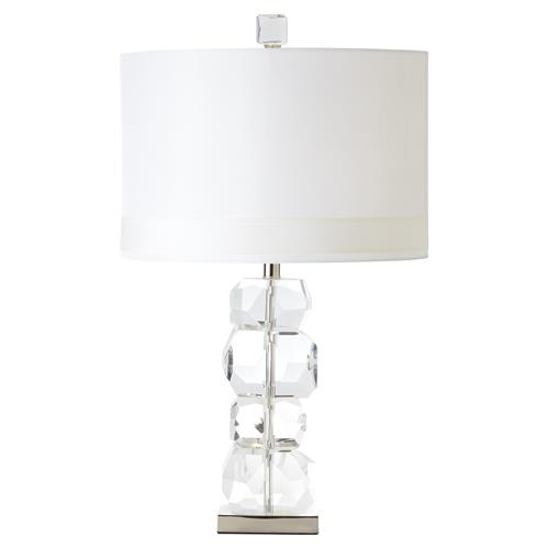 Allie Modern Oval Ivory Silk Shade Stacked Gemstone Crystal Table Lamp - Short | Kathy Kuo Home