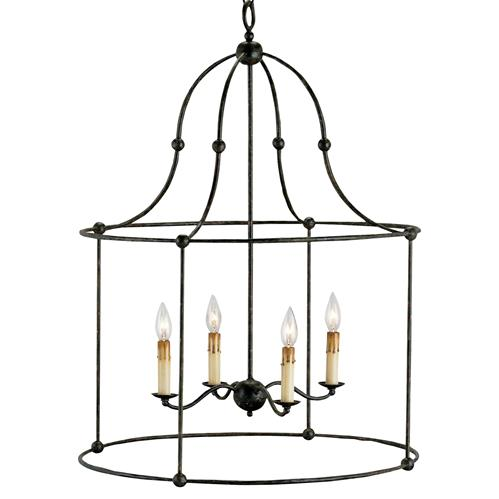 Orenda Industrial Loft Wrought Iron Black Lantern | Kathy Kuo Home