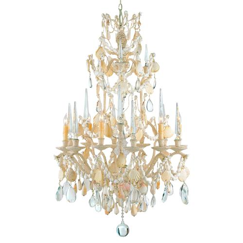 Crystal Seashell 6 Light Baroque 2 Tier Chandelier | Kathy Kuo Home