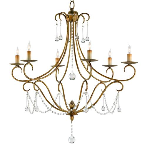 Traditional Gold Leaf Crystal Swag 6 Light Chandelier | Kathy Kuo Home