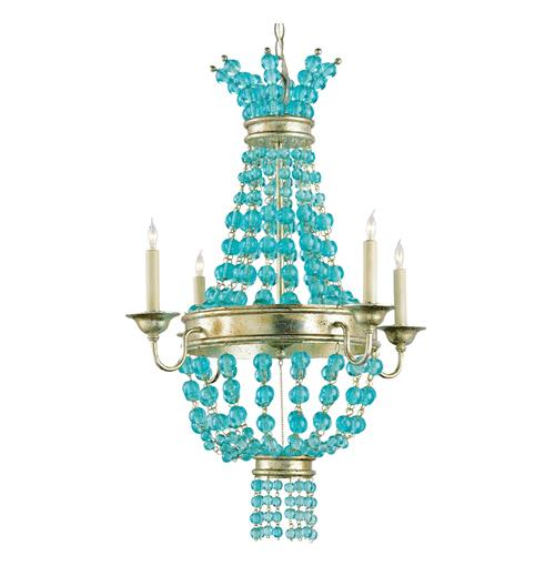 Lea Aqua Blue Glass Bead Champagne Leaf 4 Light Chandelier | Kathy Kuo Home