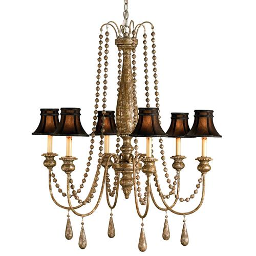 Traditional Beaded Swag Shaded 6 Light Chandelier | Kathy Kuo Home