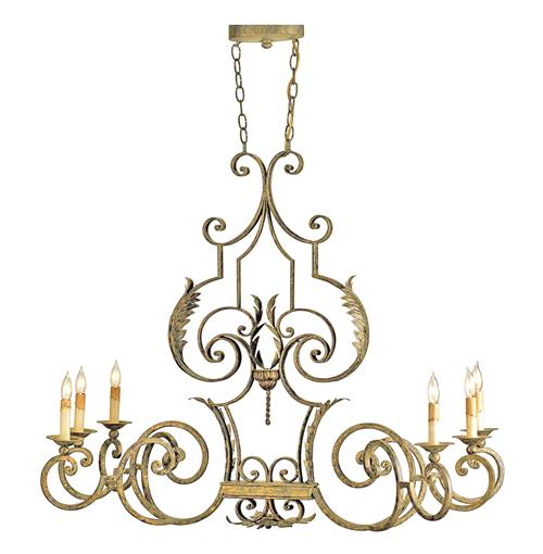 Parisian Intricate Antique Gold Iron 6 Light Chandelier | Kathy Kuo Home