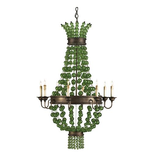 Green Goddess Glass Orb Traditional 8 Light Chandelier | Kathy Kuo Home