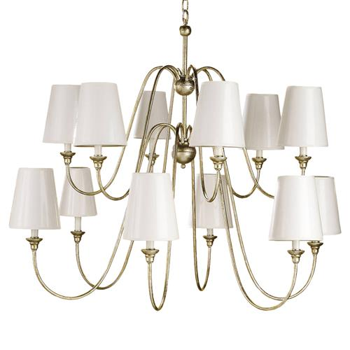 Oberlin Traditional Silver Leaf 12 Light Chandelier | Kathy Kuo Home