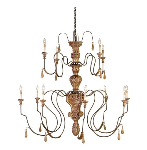 Manor Hand carved Wood Grand 12 Light Chandelier | Kathy Kuo Home
