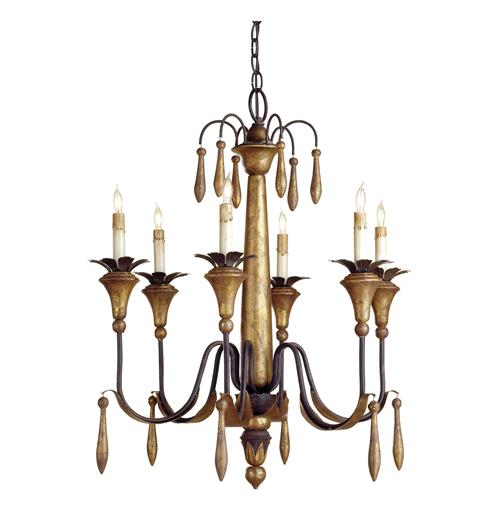 Grand Vintage Style Gold Leaf 6 Light Chandelier | Kathy Kuo Home