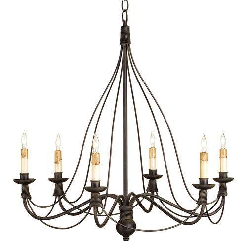 Derby Bell Curve Black Wrought Iron 6 Light Chandelier | Kathy Kuo Home