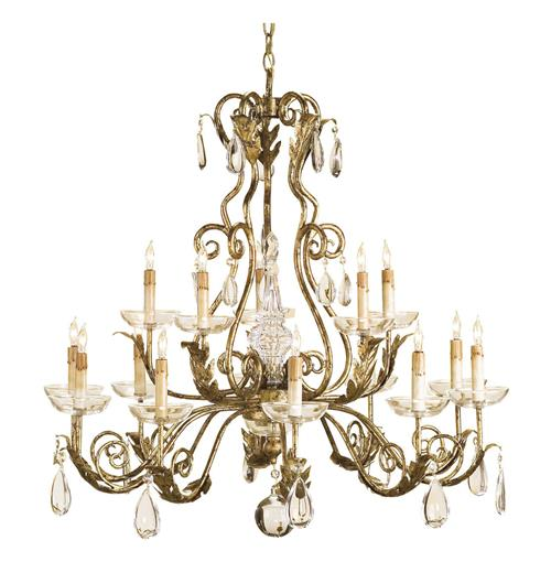 Holden Gold Leaf Traditional Crystal Chandelier | Kathy Kuo Home