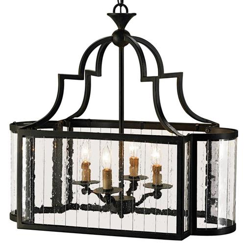 Marion Wrought Iron Rectangle 4 Light Island Lantern | Kathy Kuo Home