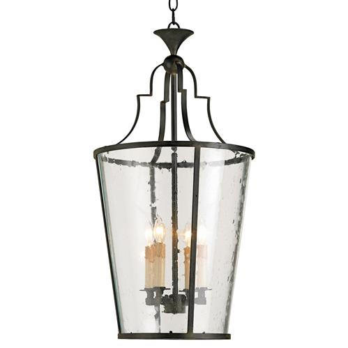 Goshen Seeded Glass Wrought 4 Light Iron Bucket Lantern Pendant | Kathy Kuo Home