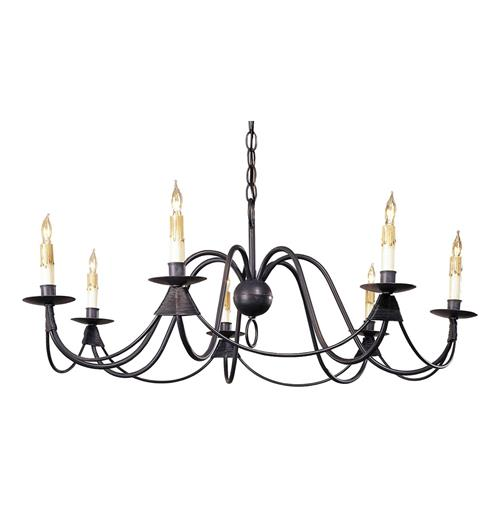 Ruther Nouveau Black Iron Low Profile 7 Light Chandelier | Kathy Kuo Home