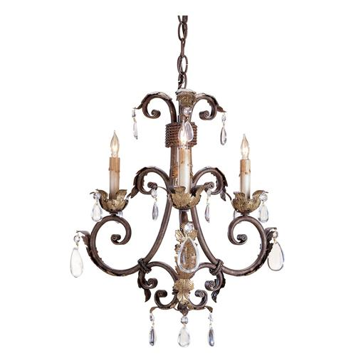 Arabesque Petite Crystal Droplet 3 Light Traditional Chandelier | Kathy Kuo Home