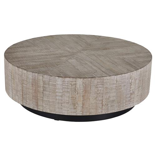 Black Oak Round Coffee Table: Carelton Industrial Modern Rustic Charcoal Oak Black Base