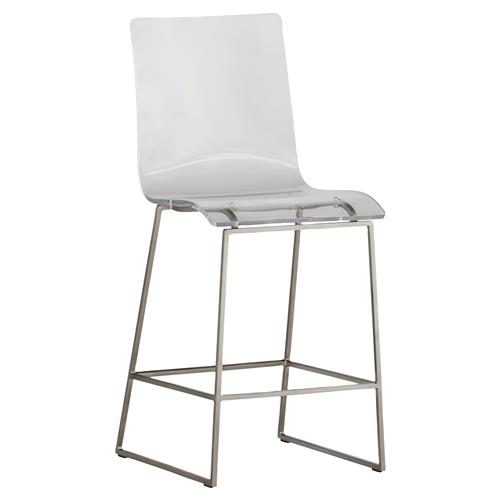 Katherine Modern Classic Clear Acrylic Seat Silver Base Counter Stool | Kathy Kuo Home