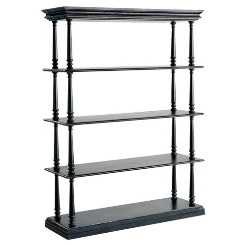 Zane French Country Black Pine Wood 4-Shelf Bookcase | Kathy Kuo Home