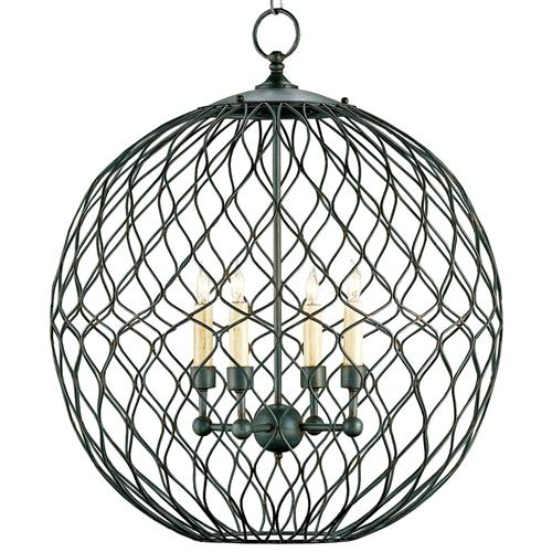 Wrought Iron Petite 4 Light Ball Chandelier | Kathy Kuo Home