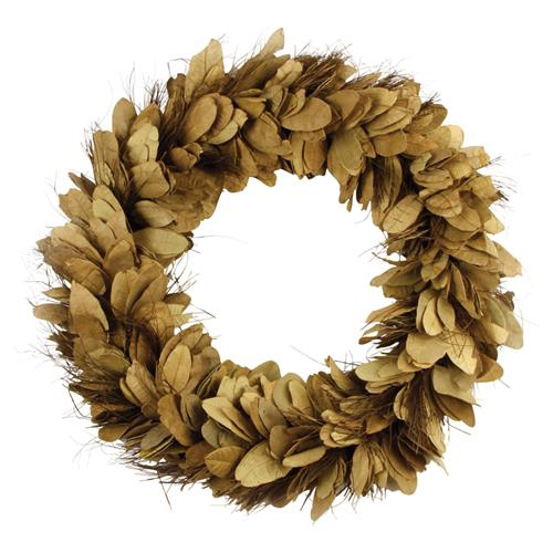 Annie Rustic Lodge Handcrafted Dried Yellow Pear Leaves and Thatch Wreath | Kathy Kuo Home