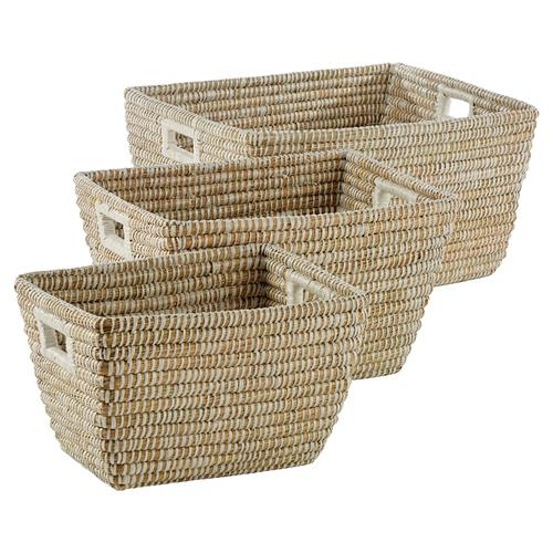 Maia French Country Woven Rivergrass Rectangular Handled Baskets - Set of 3 | Kathy Kuo Home