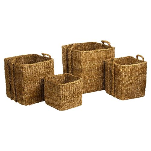Zuri French Country Woven Square Seagrass Apple Baskets - Set of 4 | Kathy Kuo Home