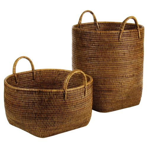 Paul French Country Rattan Storage Floor Baskets - Set of 2 | Kathy Kuo Home