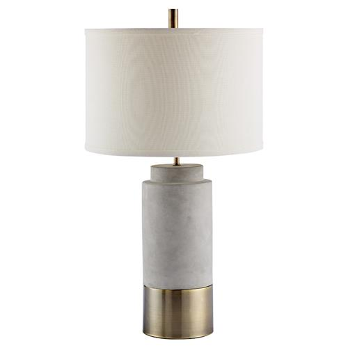 Israel French Country Grey Cement & Brass Detail Table Lamp with White Drum Shade | Kathy Kuo Home